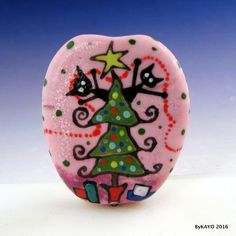 """A CRAZY CHRISTMAS"" byKAYO a Handmade CAT Lampwork Art Glass Focal Bead SRA #Lampwork"