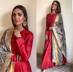 Red silk floor length dress with golden border dupatta Indian Gowns, Indian Attire, Indian Ethnic Wear, Pakistani Dresses, Indian Outfits, India Fashion, Ethnic Fashion, Mode Bollywood, Indiana