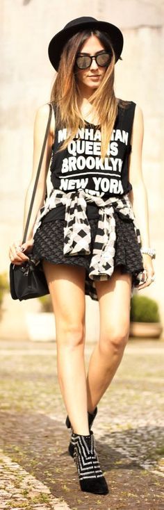 Black And White Rocker Girl Outfit Idea by Fashion Coolture