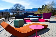 Esthec Terrace system by Colombo La Famiglia at the iconic #RedBox house in Zollikon, Switzerland http://www.esthec.com/en/news/colombo-la-famiglia-chooses-sustainable-presentation-of-trendsetting-designer-furniture.html