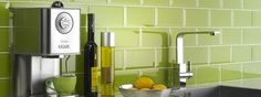 Kitchen wall tiles are perfect to add character to your cooking space. Whether it's a feature splashback or a simple border, there is something for everyone in our collection of kitchen wall tiles. Lime Green Kitchen, Green Kitchen Walls, Lime Green Walls, Kitchen Wall Tiles, Kitchen Backsplash, New Kitchen, Blue Green, Splashback Tiles, Awesome Kitchen