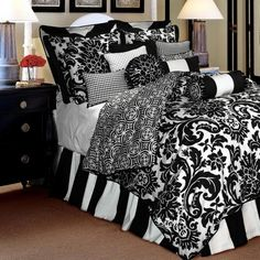 Creative Black And White Bedroom Sets Brown Gray And Black Bedding Sets Neutral Bedroom Colors Black ideas Bedroom Comforter Sets, Bedroom Sets, Home Bedroom, Bedroom Decor, Master Bedroom, Damask Bedding, Luxury Bedding, Floral Bedding, Dream Bedroom