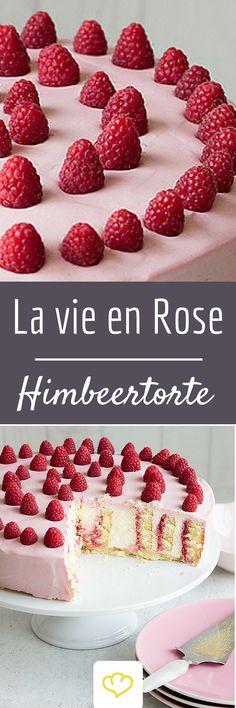 Ein Tortentraum in Rosa! Torte mit Beerencreme und frischen Himbeeren on Top!