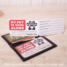 Free printable pet emergency contact card more. Pet Organization, Dog Cards, Pet Sitting, In Case Of Emergency, Pet Home, Diy Stuffed Animals, Pet Accessories, My Animal, Your Pet