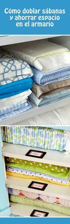 Cómo doblar sábanas y ahorrar espacio en el armario #orden #armario #sabanas #doblar #tips