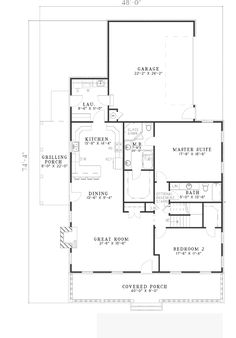 First Floor Plan of Country   Southern   House Plan 62163