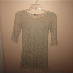 Tan/cream lace dress **SALE** comfortable lace dress just above the knees. Divided Dresses Long Sleeve