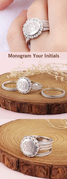 Stackable Monogram Ring With Cubic Zirconia  make stylish and practical gifts for your bosses, friends, bridal party and more! You can apart it or stack it ,The birthstone make you shinny always wherever you go. Check more from getnameneckace