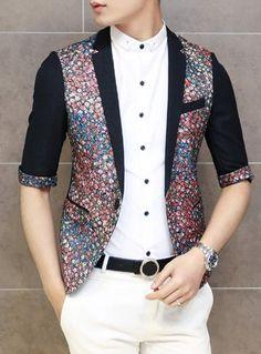 $35.65 Korean Style Lapel Color Block Flower Prints Design Half Sleeves Blazer For Men