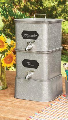 Better Homes and Gardens Galvanized Steel Square Chalkboard Drink Dispenser