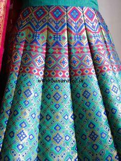 Banarasee/Banarasi Handwoven Art Silk Unstitched Lehenga & Blouse Fabric With Woven Meena Design-Spring Green Banarasi Lehenga, Lehenga Skirt, Lehenga Blouse, African Fashion Dresses, Indian Dresses, Indian Outfits, Ethnic Outfits, Indian Clothes, Lengha Blouse Designs