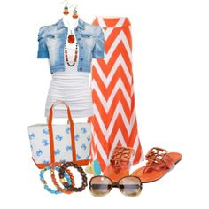 """Orange and White Chevron with Denim"" by hvershure on Polyvore"