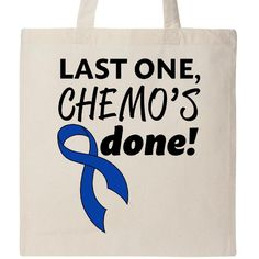 e801a0a47ae4 Inktastic Last One Chemo s Done With Royal Blue Ribbon Tote Bag Awareness  Colon  fashion