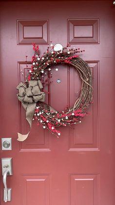 Large Christmas Wreath, Grapevine Christmas, Diy Christmas Wreaths, Christmas Reef, Christmas Crafts, Wreath Crafts, Diy Wreath, Stick Wreath, Wood Wreath