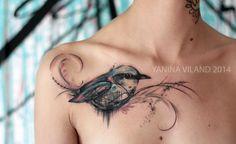 Watercolor Bird Tattoo #birdtattoo