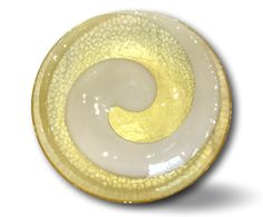SOLD    Large Yalos Casa Murano bowl; clear yellow w/white pattern