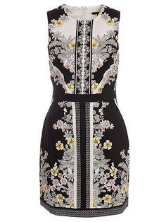 Floral Print Panel Sleeveless Dress