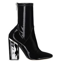 Dior Bottines stretch en cuir verni noir
