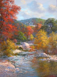Kay Walton Autumn Along The Sabinal - Southwest Gallery: Not Just Southwest Art. Beautiful Landscape Paintings, Landscape Art, Autumn Painting, Autumn Art, Autumn Scenes, Southwest Art, Nature Scenes, Painting Techniques, Painting Inspiration