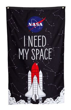 Let people know you need your space! Woven Polyester, High Resolution Printed Design Aluminum Grommets For Quick And Simple Hanging Comes In Official NASA High Quality Packaging Transform Your Room Into NASA Headquarters! Your Space, Nasa, Print Design, Banner, Reusable Tote Bags, Prints, Room, Graduation, Packaging