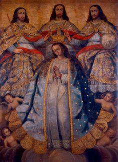 Coronación de la Virgen, Anónimo (Escuela cuzqueña), óleo sobre tela, 192 x 140,5 cm, No. Registro AP3905, Colección de Arte Banco de la República, Bogotá, Colombia.