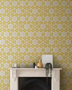 Yellow in décor is happy and chic! Yellow wallpaper dresses your home in sunny hues of optimism, providing an unexpectedly stylish compliment to white, neutrals, wood, and other colors. Under The Tuscan Sun, Cleaning Walls, Hexagon Pattern, Geometric Wallpaper, Modern Classic, Linen Bedding, Interior Styling, Wall Decor, Design Inspiration