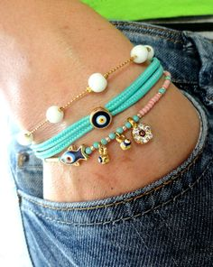 Evil eye bracelet set in turquoise and pink ethnic by Handemadeit, $24.90