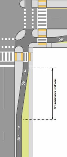 Junction design from Mass DOT's Separated Bike Lane Guide. Click image for link … Junction design from Mass DOT's Separated Landscape And Urbanism, Landscape Design, Urban Design Plan, Urban Analysis, Urban Architecture, Architecture Diagrams, Architecture Portfolio, Master Plan, Urban Planning