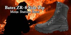 """Bates ZR-8 Side Zip Mens Boot:  For a sleek design without the expensive price tag, Bates is bringing you the ZR-8. This 8"""" boot features a leather and nylon upper and a breathable mesh lining. The side zip will makes it easy to take on and off. The ZR-8 also has a removable insole and a slip resistant outsole. Experience Bates with our new ZR-8."""