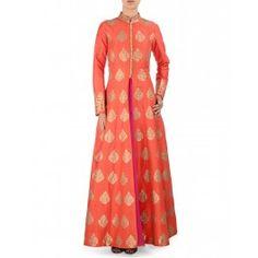 Aari Embroidered Orange Anarkali Jacket Set
