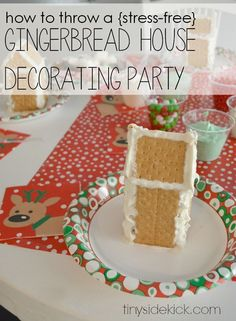 My secret to throwing a stress free gingerbread house decorating party is in the prep. Just a few steps the night before make all the difference. Such a fun holiday party for kids!