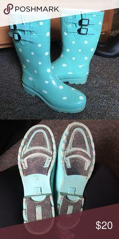 Poka dot rain boots Super cute and hardly worn! target Shoes Winter & Rain Boots