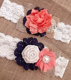 Navy And Coral Burlap Custom Garter Set $37