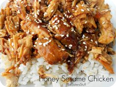 Slow Cooker Honey Sesame Chicken Recipe. Fast, Easy and so Delicious!  Can be found here: http://www.sixsistersstuff.com/2012/01/slow-cooker-honey-sesame-chicken-recipe.html