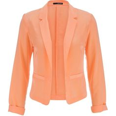 maurices Silky Blazer In Melon ($8.75) ❤ liked on Polyvore featuring outerwear, jackets, blazers, tops, coats, melon, light weight jacket, maurices, red jacket and open front jacket