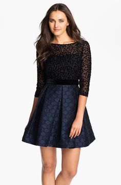 Taylor Dresses Burnout Bodice Jacquard Fit & Flare Dress available at #Nordstrom