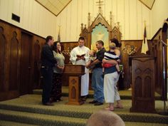 Clint and Stacy (godparents) with Lee at Rodneys' baptism with Jason and Nicole. July 13, 2012