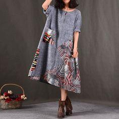 Spring Women Linen Printing Loose Dress