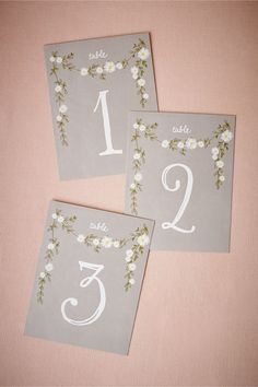 floral vintage Aster Table Numbers at BHLDN by Smitten on Paper