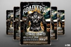 Motorcycle Road Trip Flyer Template V1 By Thats Design Store