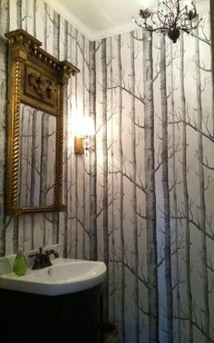 birch tree wallpaper bathroom - Google Search
