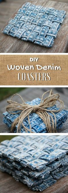 Blue Jean Upcycles - Woven Jean Seam Coasters - Ways to Make Old Denim Jeans Into DIY Home Decor, Handmade Gifts and Creative Fashion - Transform Old Blue Jeans into Pillows, Rugs, Kitchen and Living Room Decor, Easy Sewing Projects for Beginners Diy Denim, Diy Jeans, Recycle Jeans, Recycled Denim, Denim Decor, Diy With Jeans, Easy Sewing Projects, Sewing Projects For Beginners, Sewing Crafts