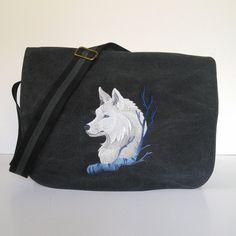 Black canvas messenger bag despatch bag college by JaneAtNumber13