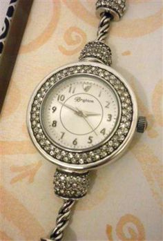 Brighton Meridian Quartz Watch Silver Plated Swarovski Crystals W40822 NWT Tin