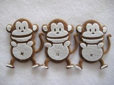 Light Brown Monkey felt animal Ornaments for Zoo, Forest Theme, Crafting, Baby Shower, Christening, Party Favors, 6 pieces
