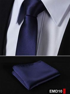 "EMD Polka Dot Solid 2.17"" 100%Silk Woven Slim Skinny Narrow Men Tie Necktie Handkerchief Pocket Square Suit Set"