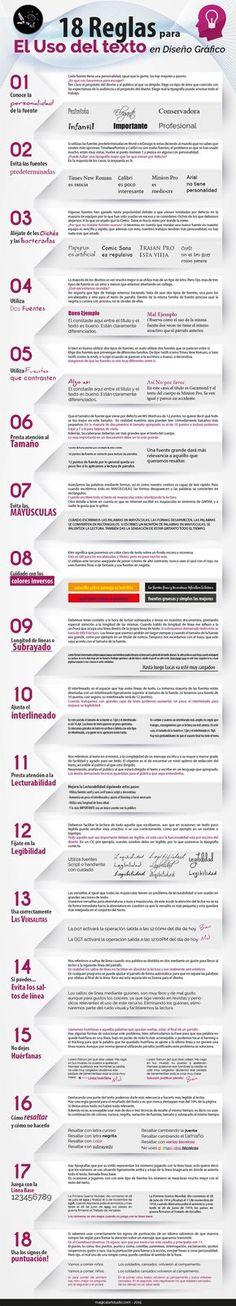 Las 18 claves que debemos conocer para hacer un uso correcto del texto en diseño gráfico, un excelente listado en una infografía.