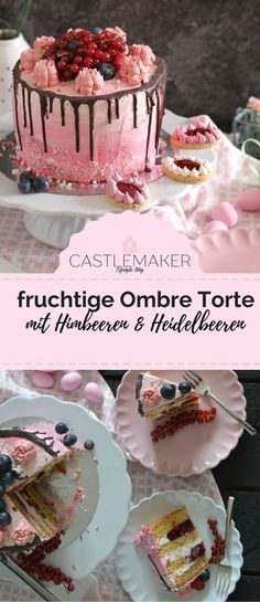 Diese kleine Torte glänzt auf jeder Kaffeetafel und ist ideal für Geburtstage, Taufe, Hochzeit oder einfach so. Die Wiener Böden sind mit einer erfrischenden Sahne-Skyr-Creme sowie Himbeerfruchtpudding gefüllt und im Ombre Look dekoriert. Die genaue Anleitung gibt es auf meinem Blog. #rezept #torte #vintage #ombre #dripcake #himbeertorte