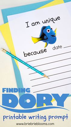 The free printable Finding Dory writing prompt is a great activity to help children gain confidence in what makes them unique.