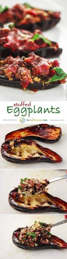 Mediterranean stuffed eggplant with spiced ground beef, bulgur and pine nuts! It's easier than you think! Get the step-by-step to this  delicious recipe on The Mediterranean Dish